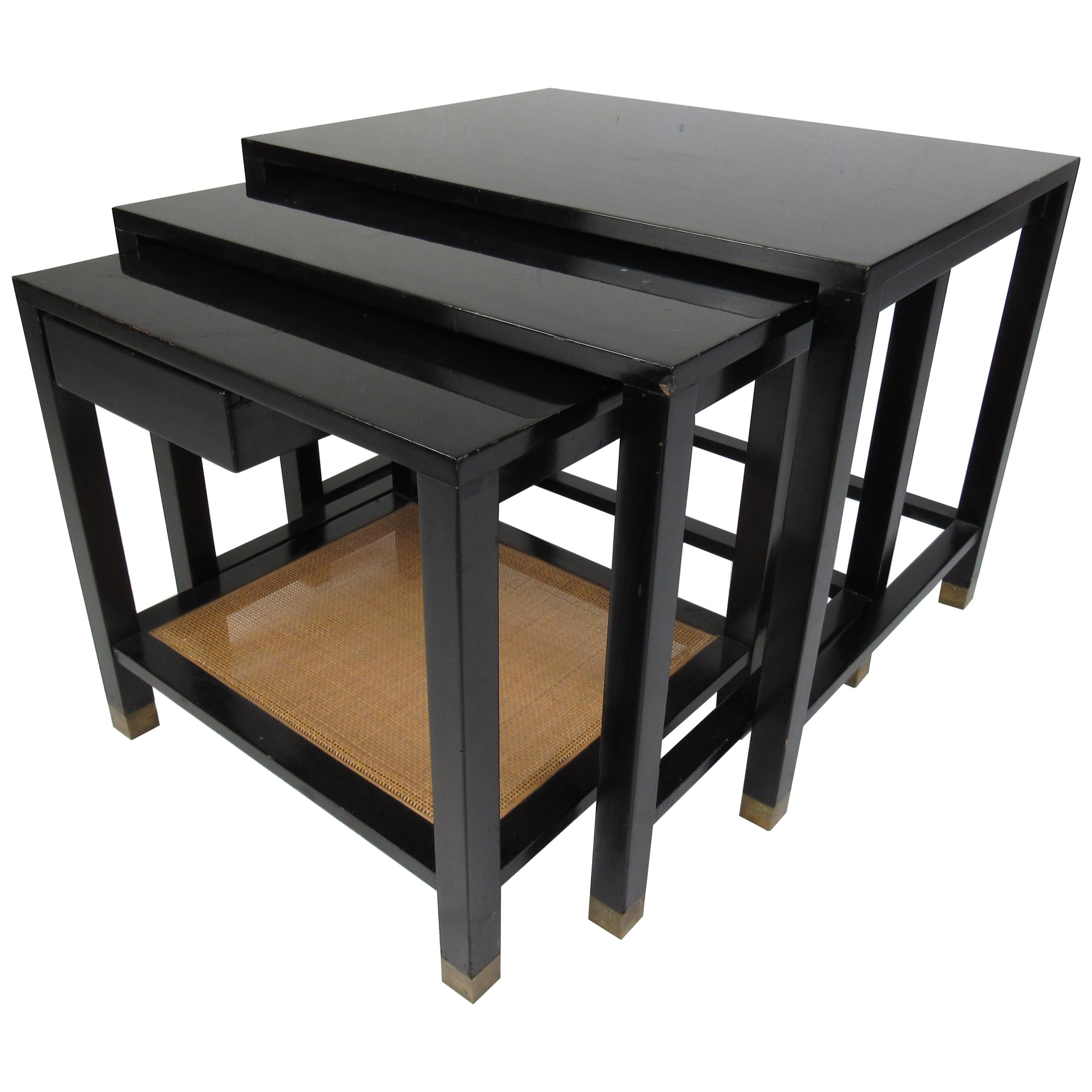 Set of Three Midcentury Dunbar Style Black Lacquer Nesting Tables