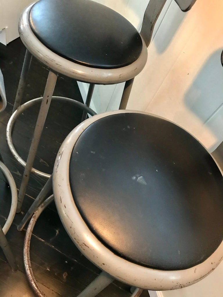 Painted Set of Three Mid Century Industrial Metal Bar Stools with Backrests For Sale