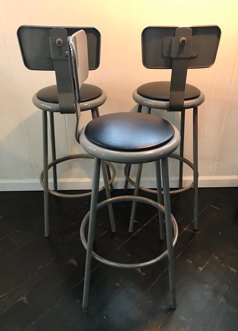 Set of Three Mid Century Industrial Metal Bar Stools with Backrests For Sale 3