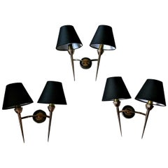 Set of Three Mid-Century Modern 2 Arm Bronze Sconces by Lunel, France