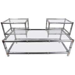 Set of Three Mid-Century Modern Faux Bamboo End and Coffee Tables