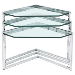 Set of Three Mid-Century Modern Geometric Chrome and Glass Chevron Form Tables