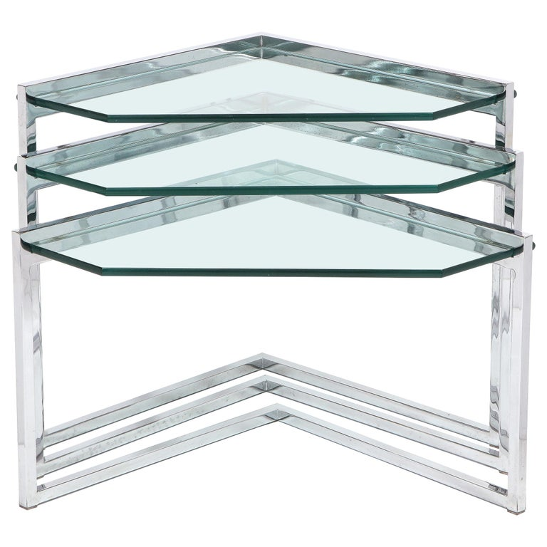 Set of Three Mid-Century Modern Geometric Chrome and Glass Chevron Form Tables For Sale