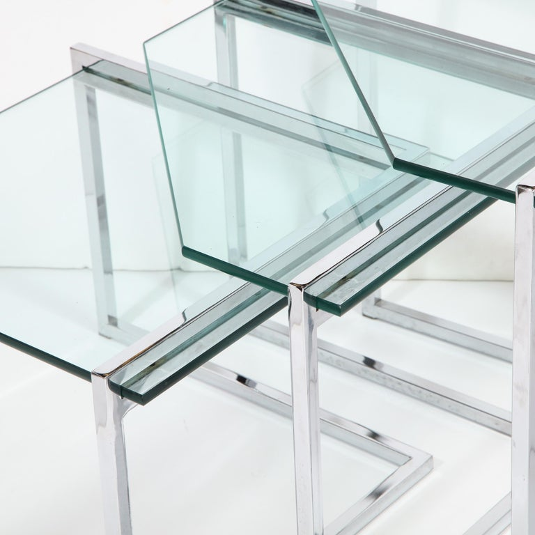 Set of Three Mid-Century Modern Geometric Chrome and Glass Chevron Form Tables For Sale 6