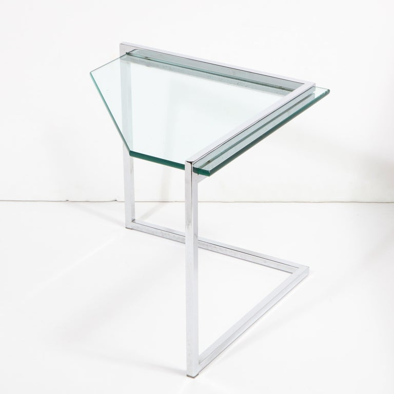 Set of Three Mid-Century Modern Geometric Chrome and Glass Chevron Form Tables For Sale 9