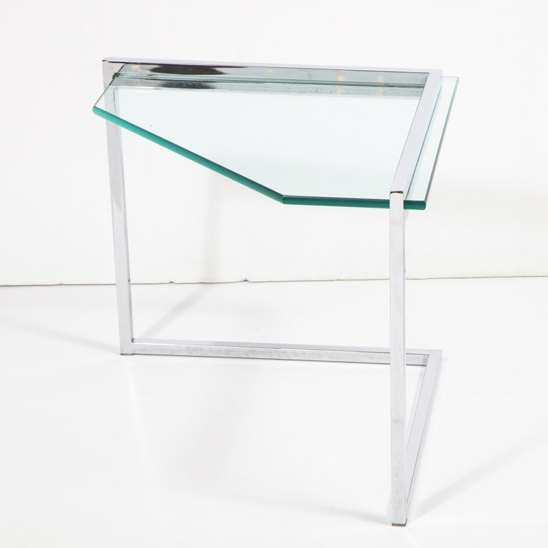 Set of Three Mid-Century Modern Geometric Chrome and Glass Chevron Form Tables For Sale 10