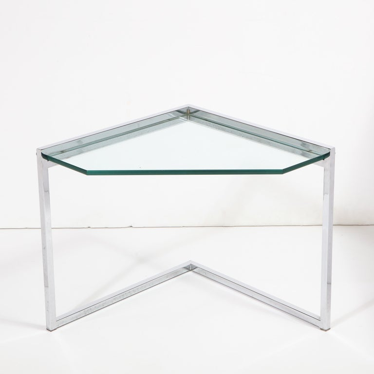 Set of Three Mid-Century Modern Geometric Chrome and Glass Chevron Form Tables For Sale 12