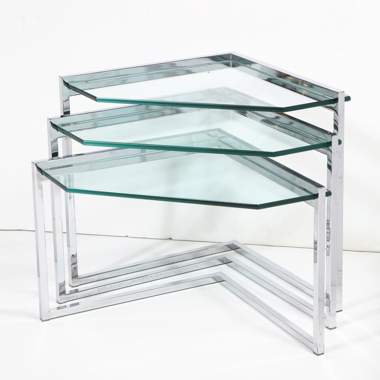 American Set of Three Mid-Century Modern Geometric Chrome and Glass Chevron Form Tables For Sale