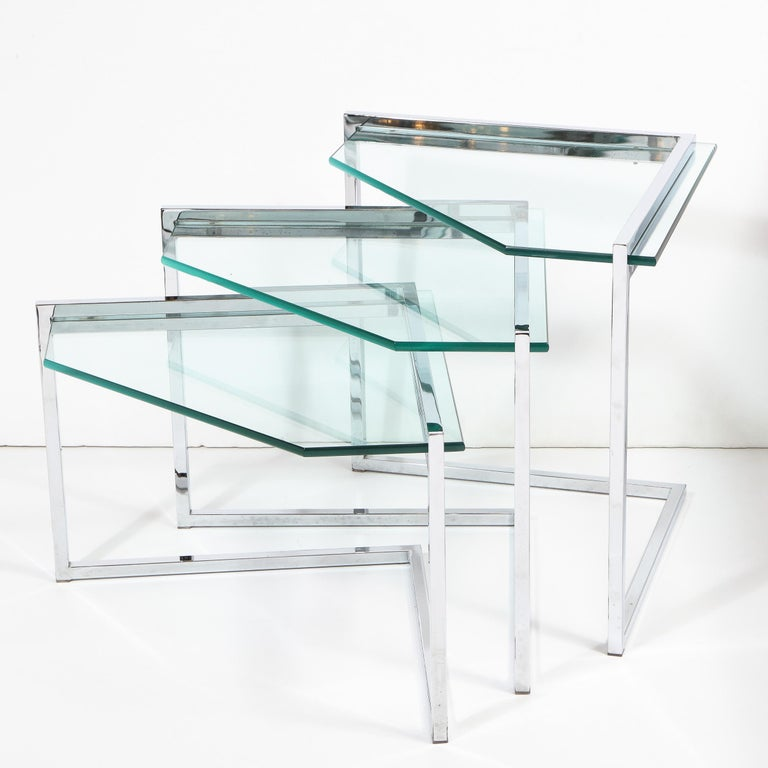 Set of Three Mid-Century Modern Geometric Chrome and Glass Chevron Form Tables For Sale 3