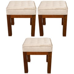 Set of Three Mid-Century Modern Handrubbed Walnut Stools in Platinum Velvet