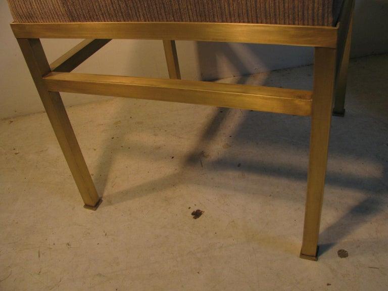 Mid-Century Modern Hollywood Regency Brass Ottoman Footstool For Sale 5