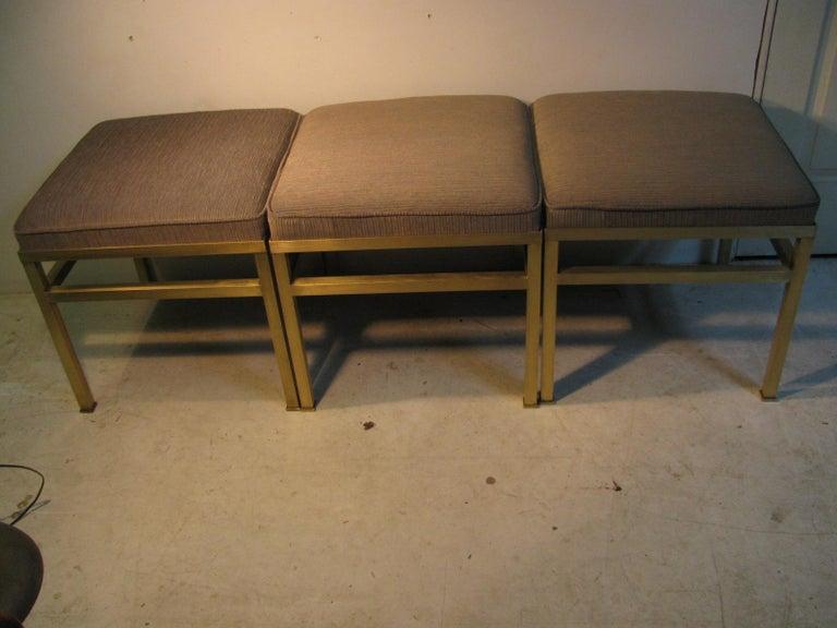 Mid-Century Modern Hollywood Regency Brass Ottoman Footstool For Sale 6