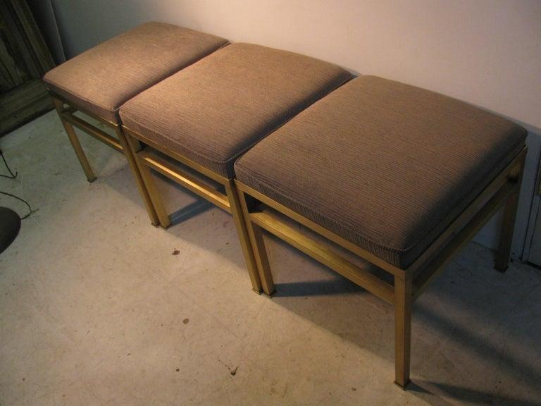 Mid-Century Modern Hollywood Regency Brass Ottoman Footstool For Sale 7