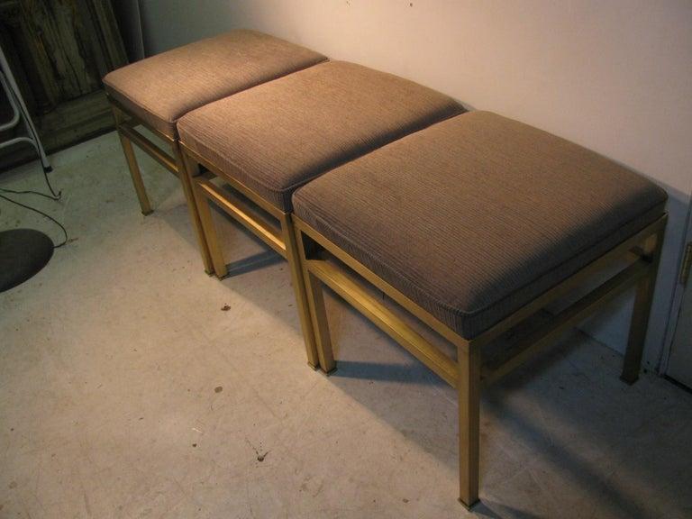 Mid-Century Modern Hollywood Regency Brass Ottoman Footstool For Sale 9