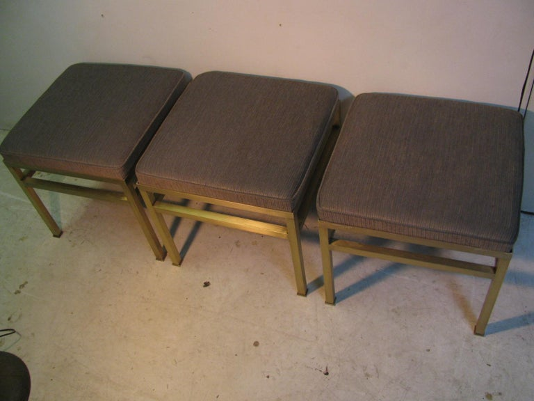 Mid-Century Modern Hollywood Regency Brass Ottoman Footstool For Sale 10