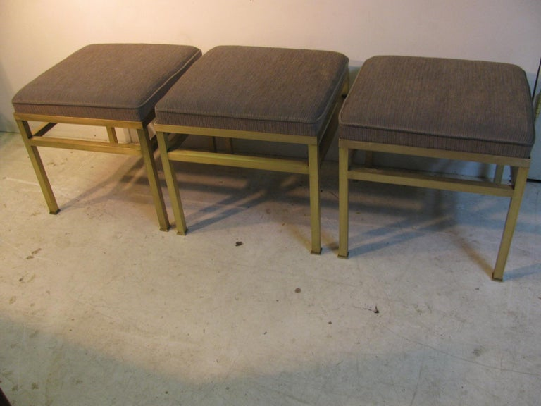 Polished Mid-Century Modern Hollywood Regency Brass Ottoman Footstool For Sale