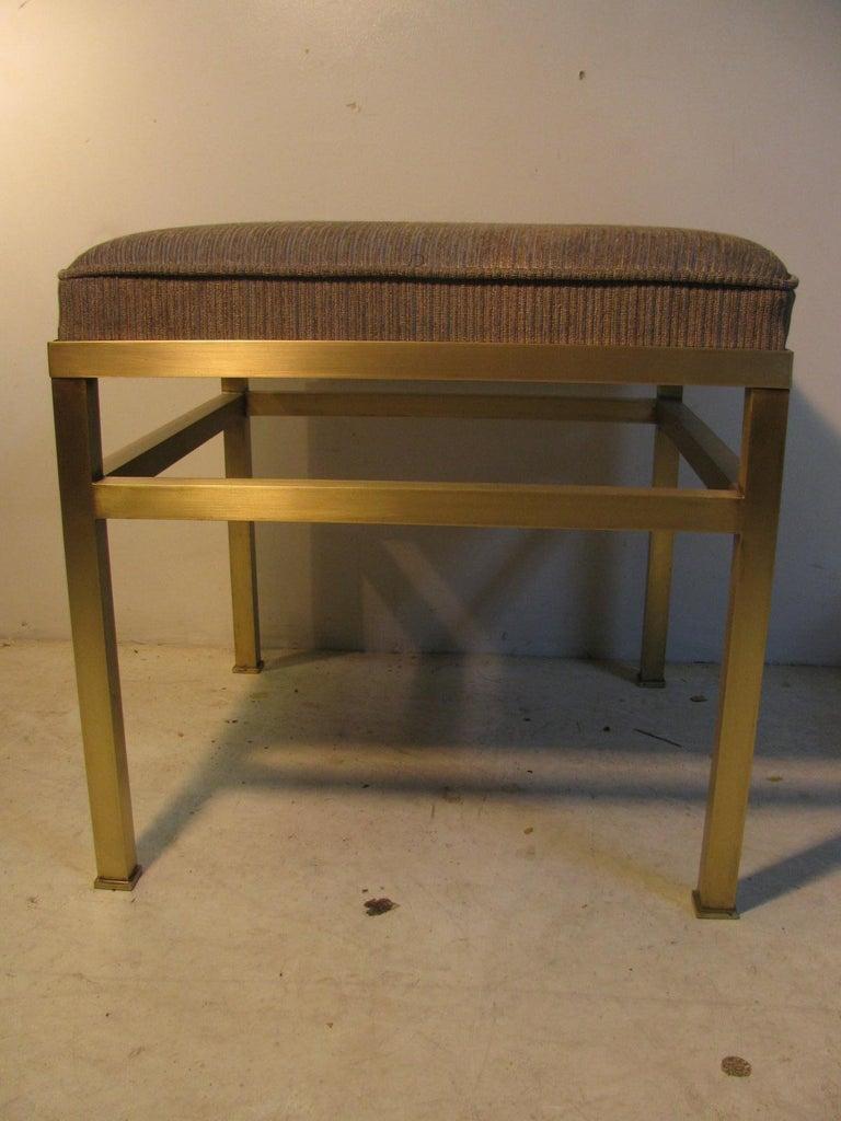 Mid-20th Century Mid-Century Modern Hollywood Regency Brass Ottoman Footstool For Sale