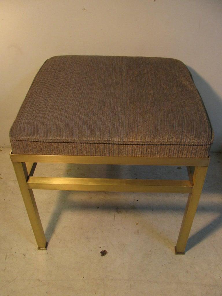 Mid-Century Modern Hollywood Regency Brass Ottoman Footstool For Sale 1