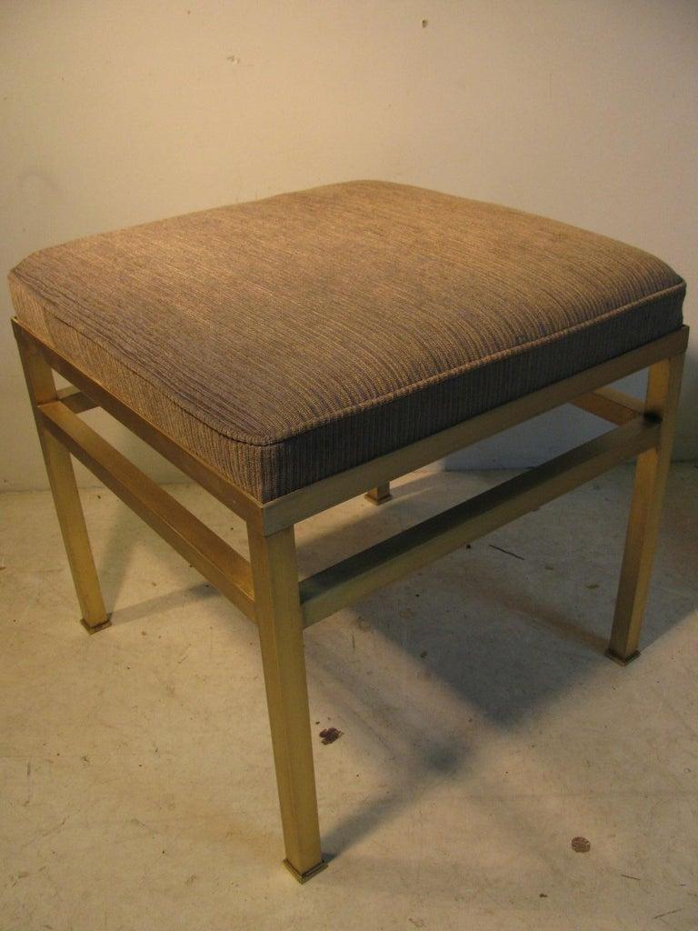 Mid-Century Modern Hollywood Regency Brass Ottoman Footstool For Sale 3