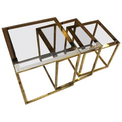 Set of three Mid-Century Modern Italian Square Modular Brass Side Tables, 1960