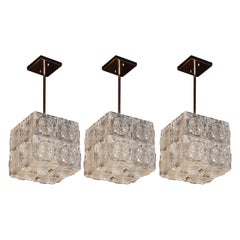 Set of Three Mid-Century Modern Pendants with Etched Glass & Chrome by Kinkeldey