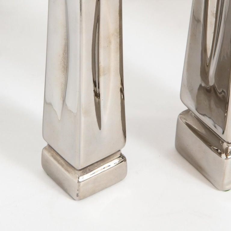 Set of Three Mid-Century Modern Platinum Plated Obelisk Sculptures Signed Jaru For Sale 4