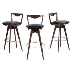 Set of Three Mid-Century Modern Swivel Bar Stools