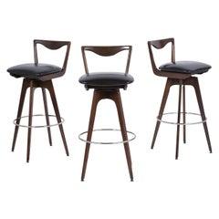 Set of Three Mid-Century Modern Swivel Bar Stools