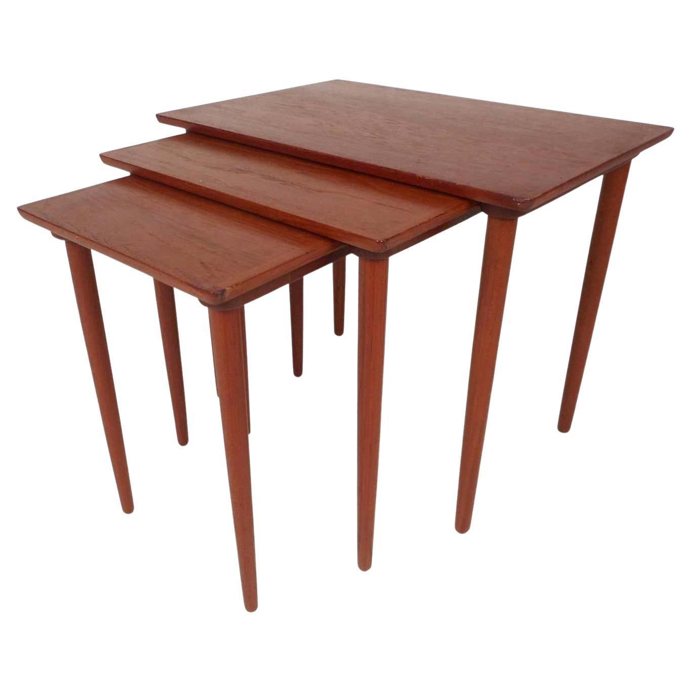 Set of Three Mid-Century Modern Teak Nesting Tables by Bramin Mobler