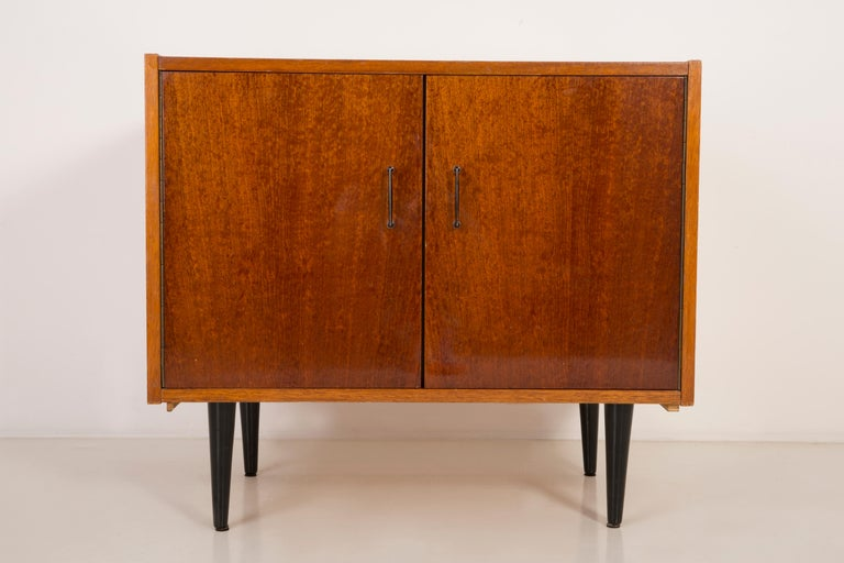 Set of Three Mid-Century Modern Vintage Sideboards, Wood, Poland, 1960s For Sale 9