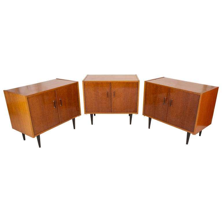 Set of Three Mid-Century Modern Vintage Sideboards, Wood, Poland, 1960s For Sale