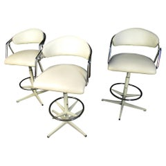 Set of Three Mid-Century Modern White Barstools