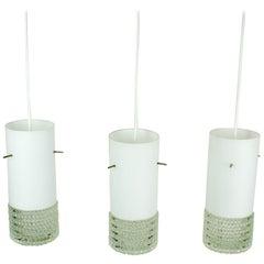 Set of Three Mid-Century Modern White Glass Pendant Lamps Attr. Staff Germany
