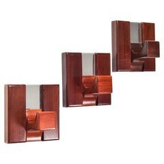 Set of Three Mid-Century Modern Wood and Chrome Coat Racks, Italy