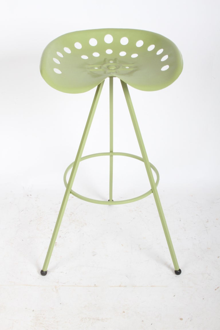 Cold-Painted Set of Three Midcentury Tractor Seat Bar Stools, Restored  For Sale