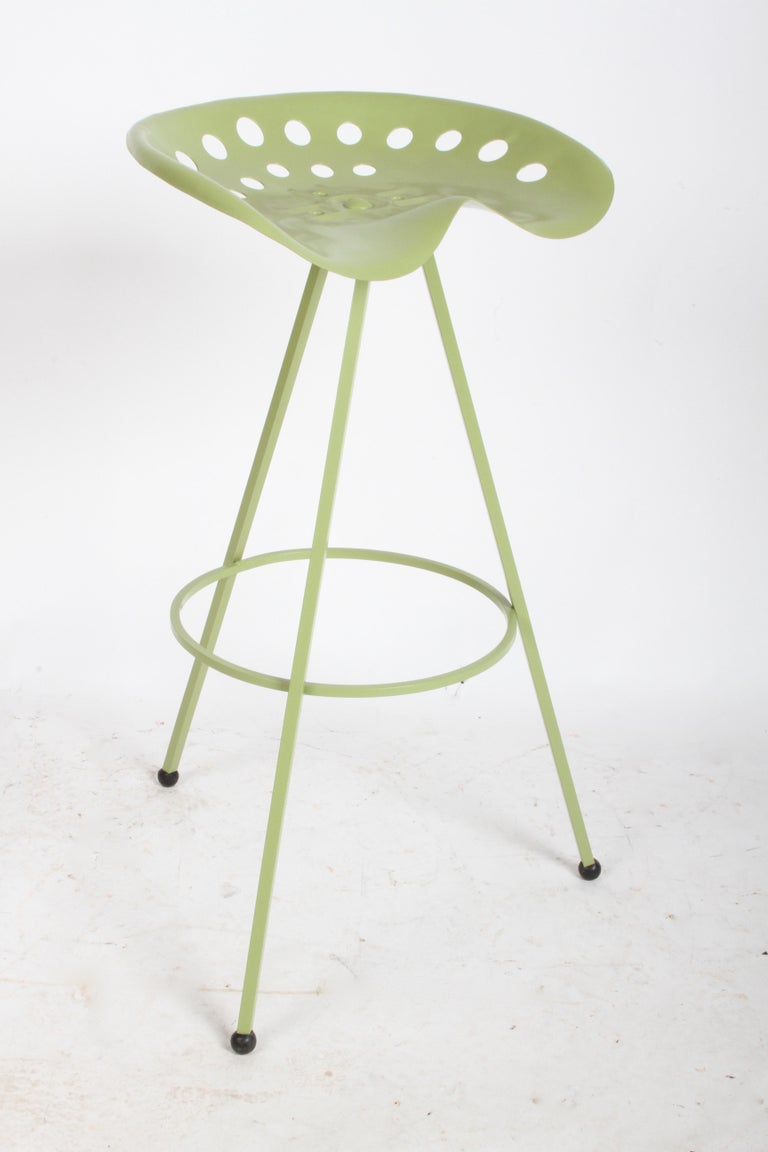 Mid-20th Century Set of Three Midcentury Tractor Seat Bar Stools, Restored  For Sale