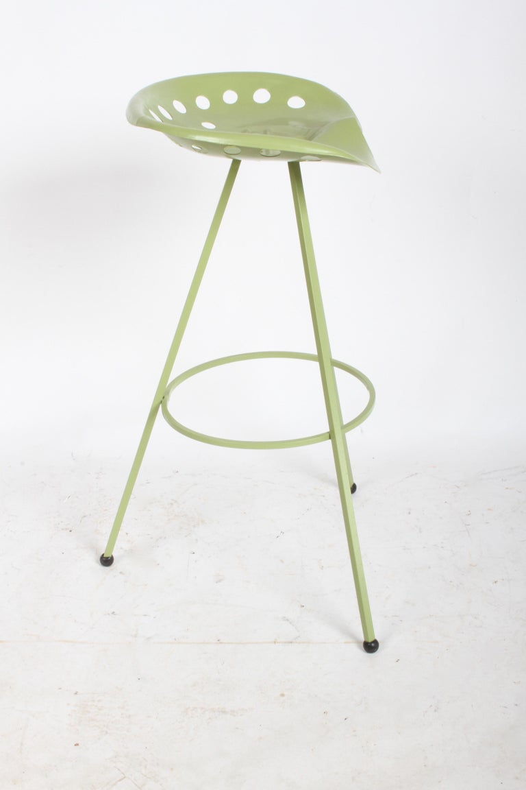 Iron Set of Three Midcentury Tractor Seat Bar Stools, Restored  For Sale