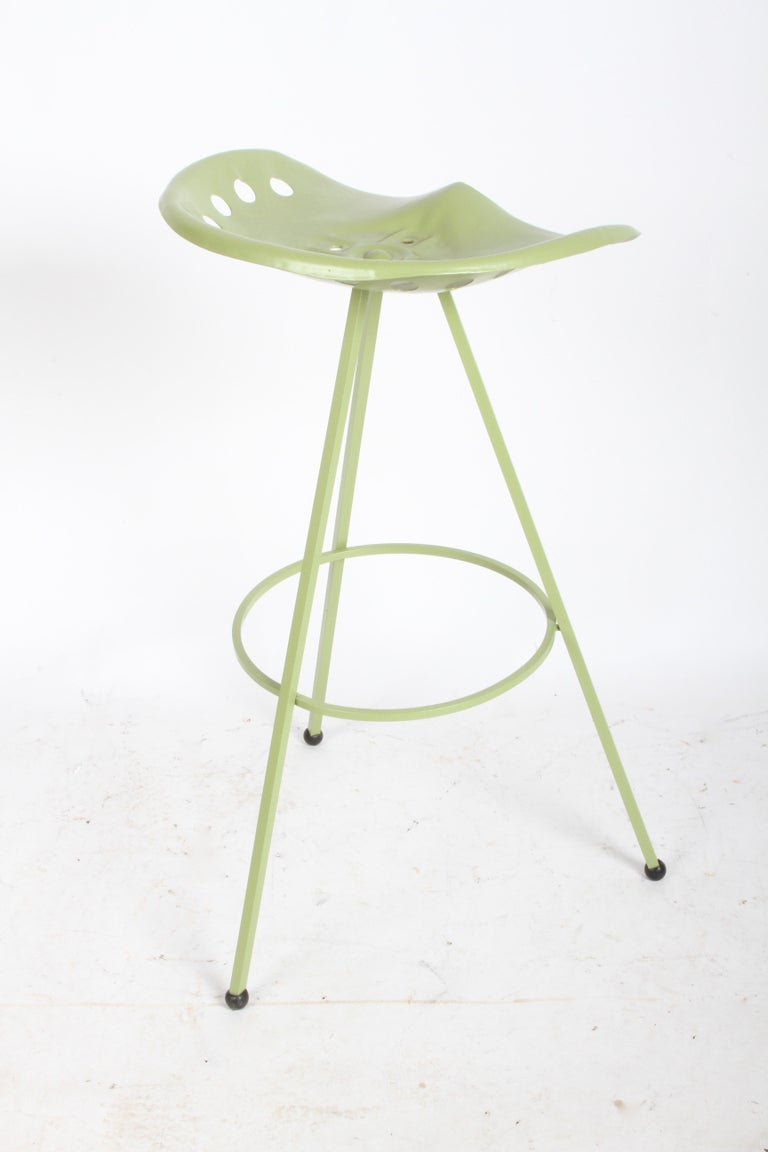 Set of Three Midcentury Tractor Seat Bar Stools, Restored  For Sale 1