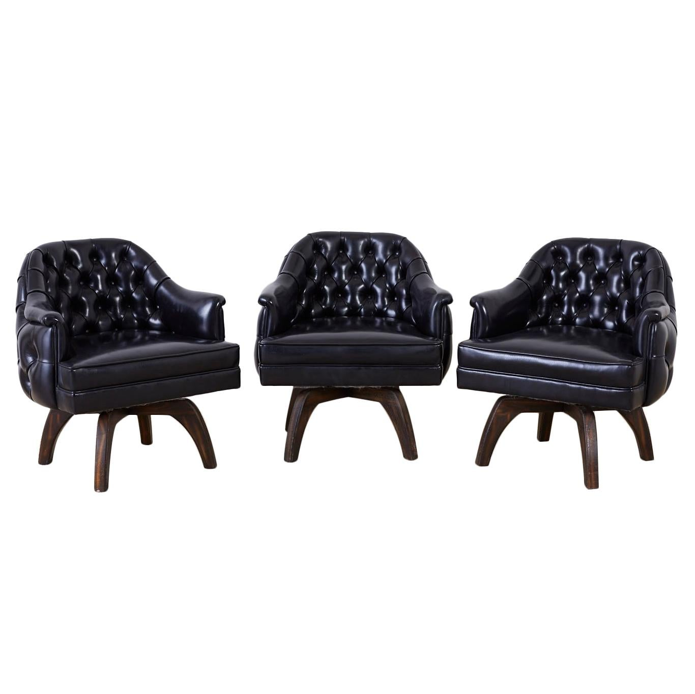 Set of Three Mid Century Tufted Black Leatherette Club Chairs
