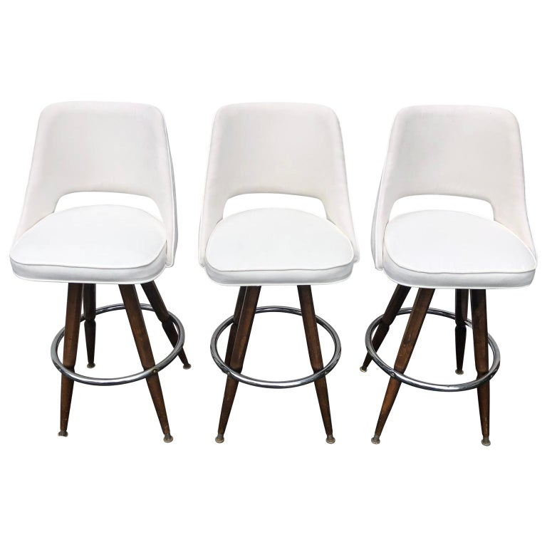 Mid-Century Modern Set Of Three Mid-Century White Faux-Suede Bar Stools For Sale