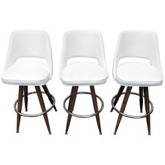 Set Of Three Mid-Century White Faux-Suede Bar Stools