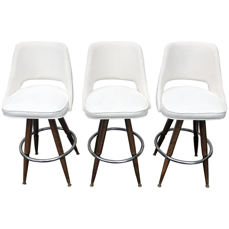Set Of Three Mid-Century White Faux-Suede Bar Stools For Sale