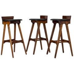 Set of Three Midcentury Bar Stools by Erik Buch