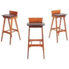 Set of Three Midcentury Bar Stools in Teak by Erik Buch, 1960s
