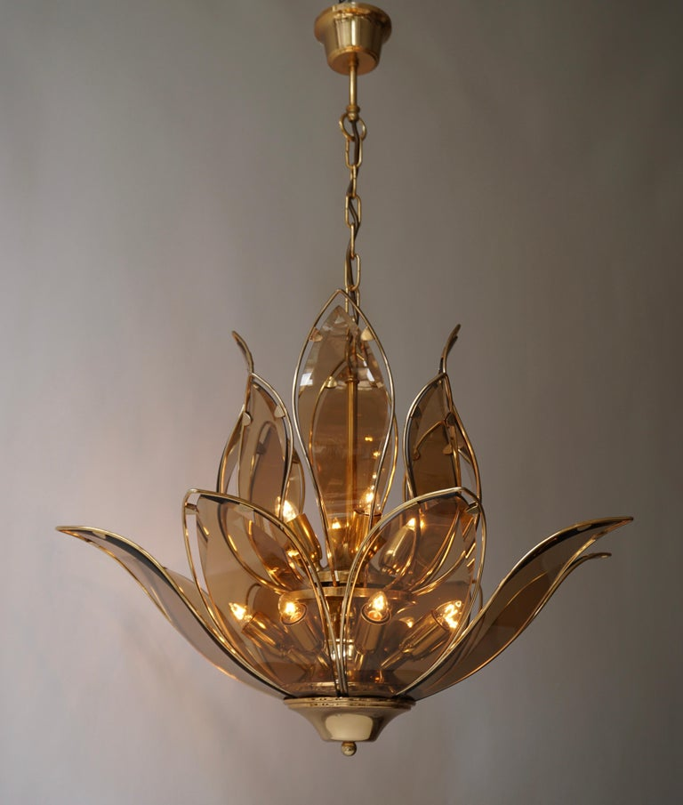 Set of Three Midcentury Chandeliers in Brass and Glass For Sale 4