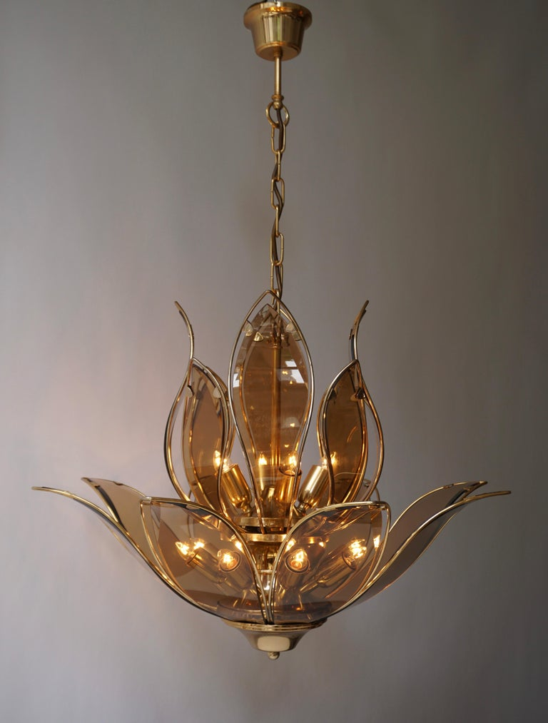 Set of Three Midcentury Chandeliers in Brass and Glass For Sale 5