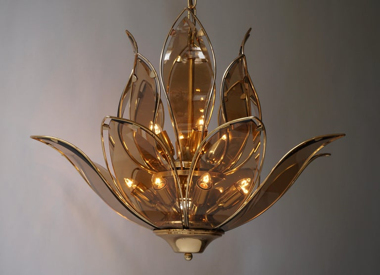 Set of Three Midcentury Chandeliers in Brass and Glass For Sale 6