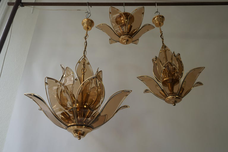 Set of Three Midcentury Chandeliers in Brass and Glass For Sale 11
