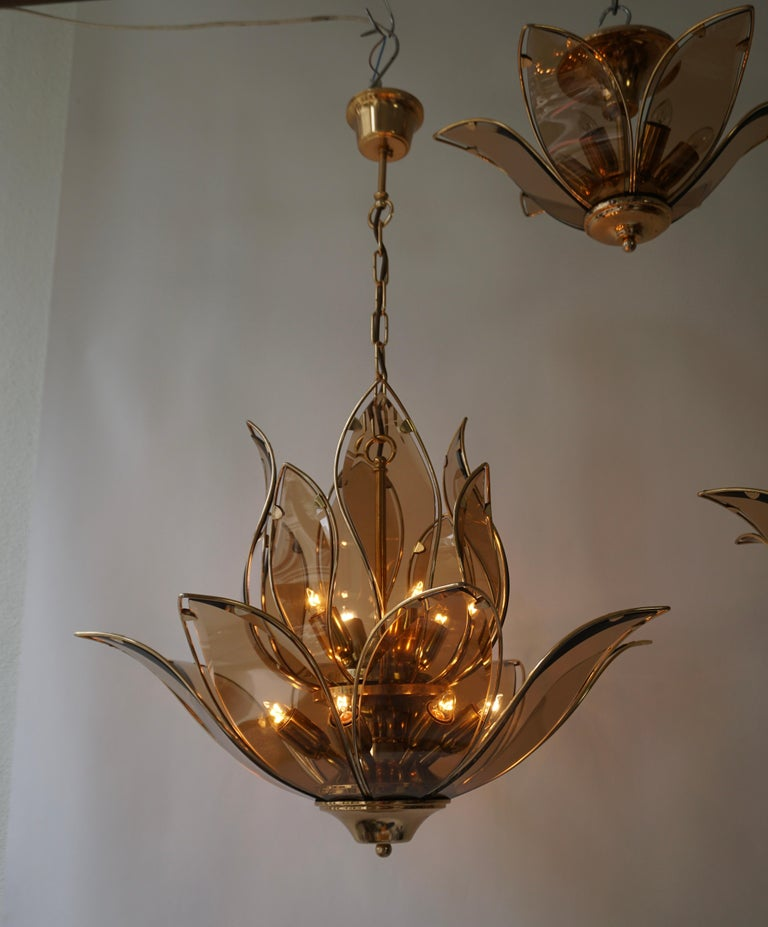 Set of Three Midcentury Chandeliers in Brass and Glass For Sale 13