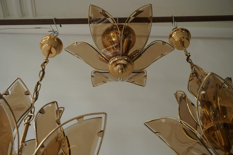 Set of Three Midcentury Chandeliers in Brass and Glass For Sale 14